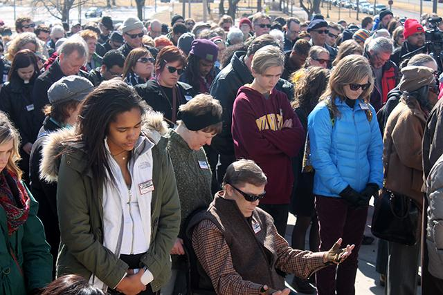Hundreds gathered before the State Capitol on Sunday