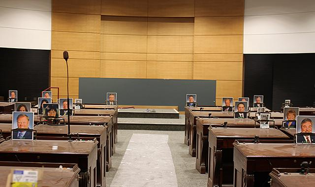 The temporary Senate chambers in the new building