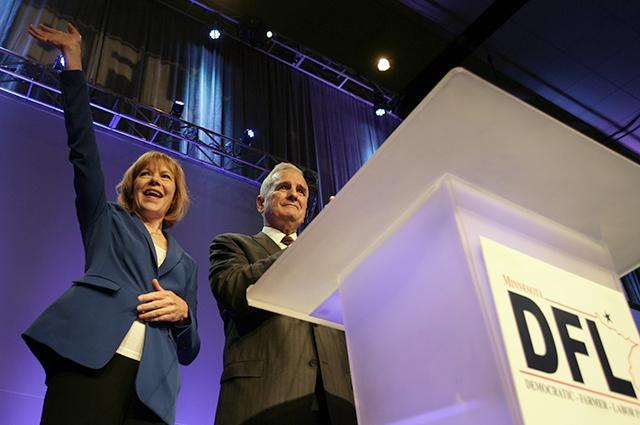Gov. Mark Dayton, right, and lieutenant governor candidate Tina Smith