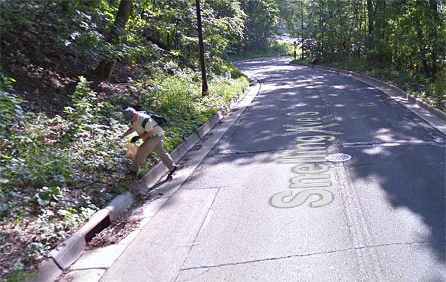 If you look at Google Street View, there's a man ambling along