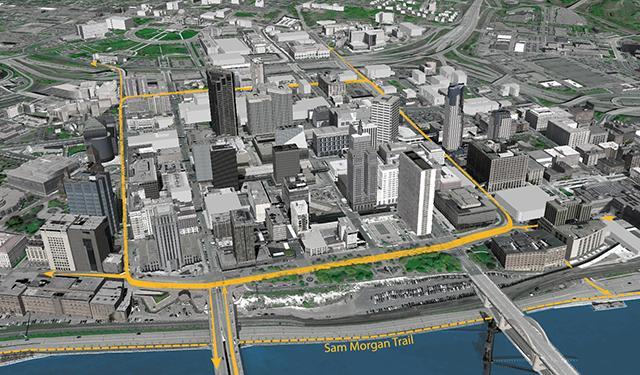 Proposed St. Paul downtown bike loop.