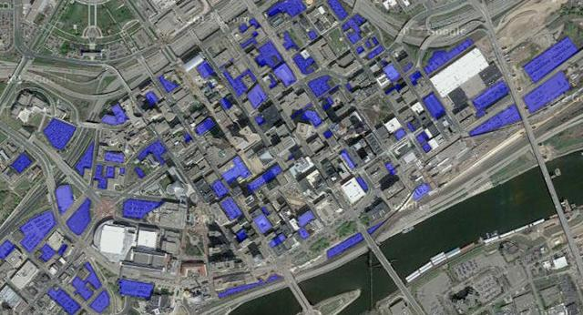 A map of downtown St. Paul where all the parking is colored blue.