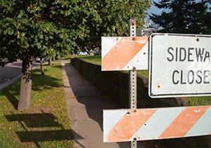 A sidewalk closed sign in St. Paul.