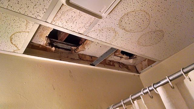 An image of the leaking ceilings at an apartment complex