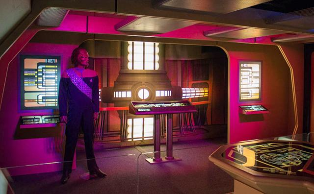 A Klingon on the engineering deck of the Enterprise-D