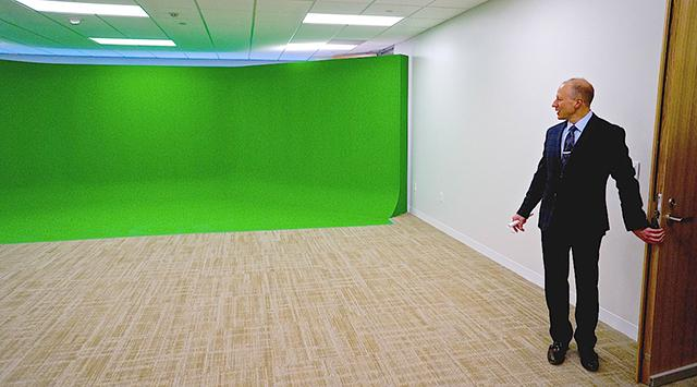 The video suite, with seamless green wall.