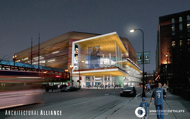 A rendering of the redesigned Target Center from 6th Street.