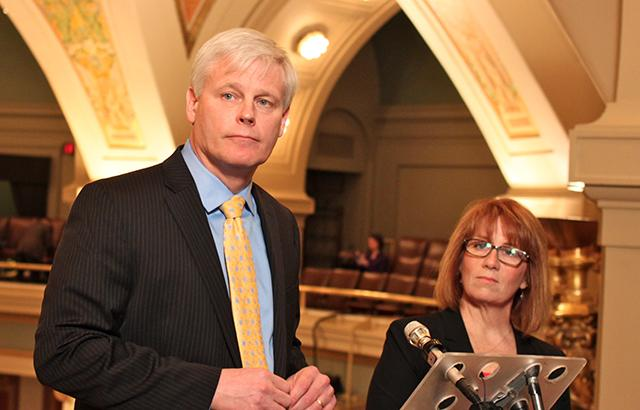 Speaker Paul Thissen and House DFL Majority Leader Erin Murphy