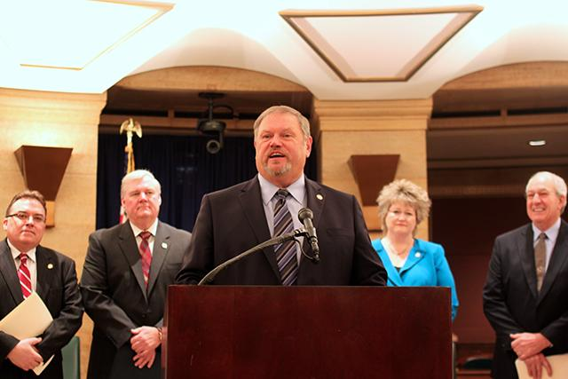 Senate DFL Majority Leader Tom Bakk speaking at Thursday's press conference.