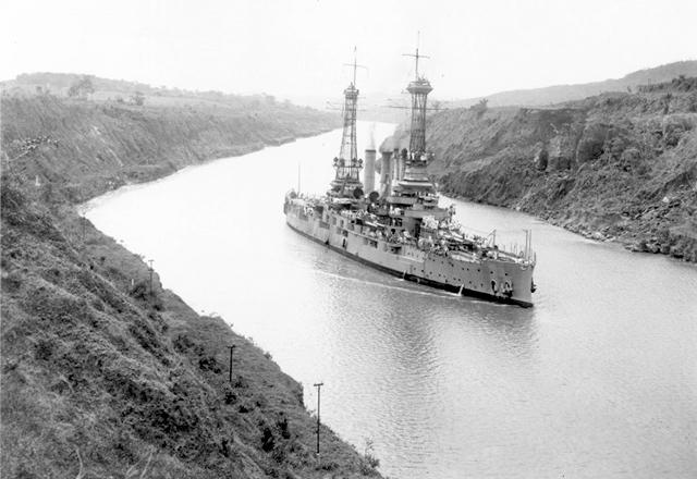 June 12, 1920: The USS Minnesota travelling south in the Panama Canal.