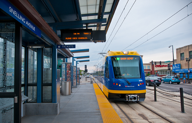Green Line on University Avenue and Snelling