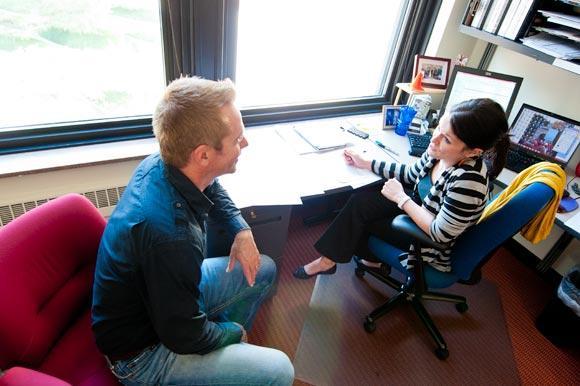 Andrew Wittenborg of MHTA talking with Kathy Marsh