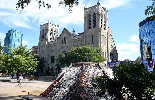 Westminster Presbyterian Church at Nicollet and 12th Street.