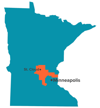 map showing location of Minnesota sixth congressional district