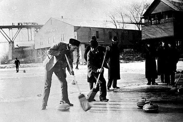 Curling on the Mississippi River, c. 1891.