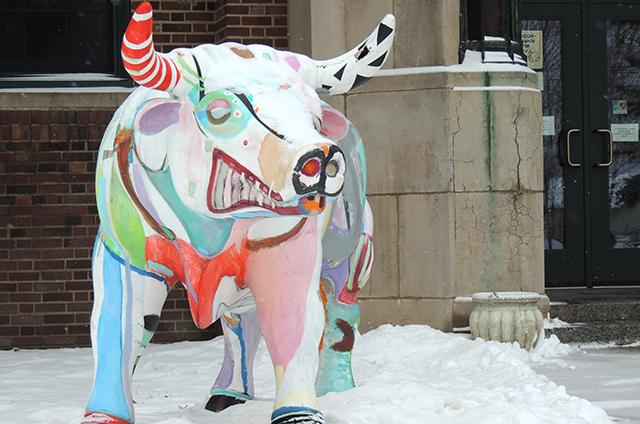 painted bull statue