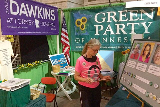 Green Party booth, on the second floor of the Grandstand.