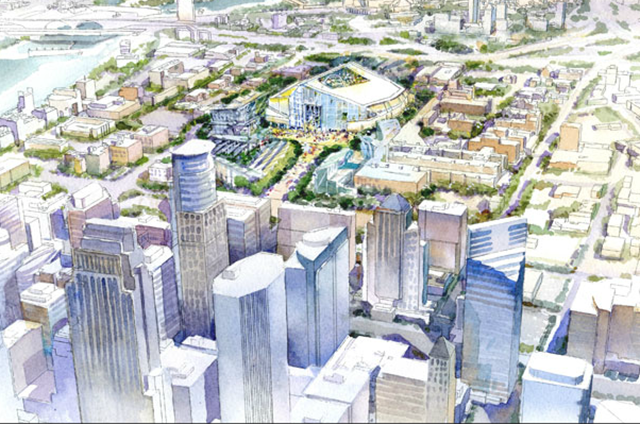 A conceptual drawing by HKS showing the new Vikings stadium in the midst of Minn