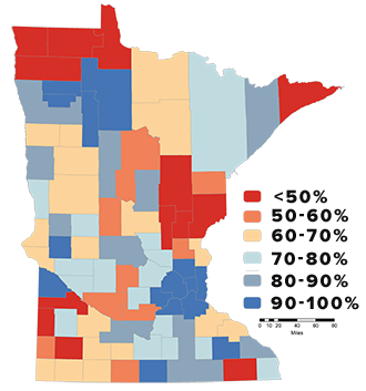 map showing broadband availability in minnesota counties