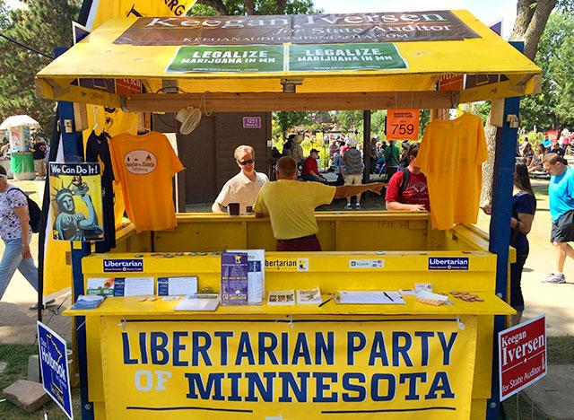 The Libertarian Party booth, on Nelson, near the DNR building and fish pond.