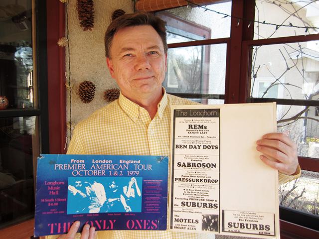 Mark Engebretson, at home with Jay's Longhorn ephemera.