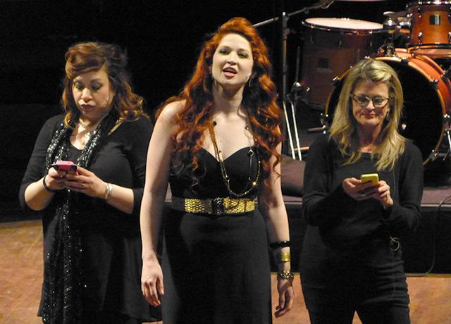 "Erin Schwab, Mugsy and Lynn Benson performing ""We'll Never..."""