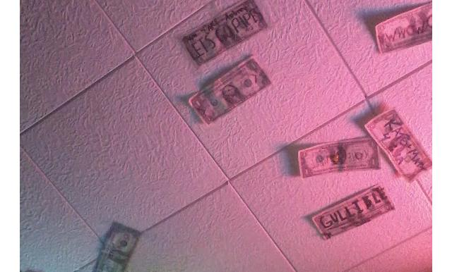dollars on ceiling