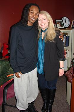 Perreon Cobbins with education director Paula Anderson