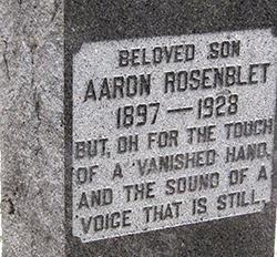 Aaron Rosenblet's gravestone