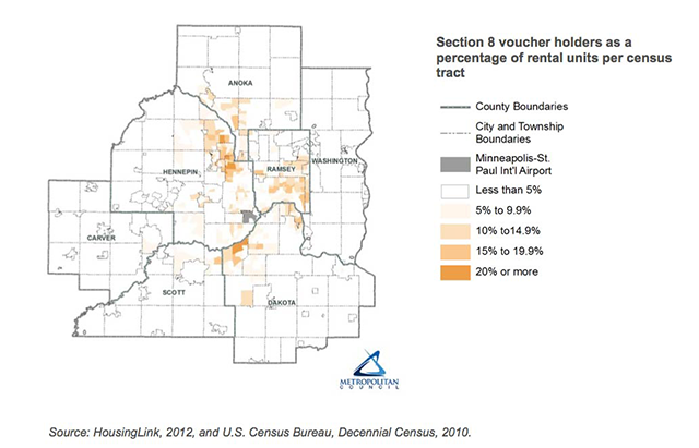 Map of density of Section 8 housing voucher holders in the MSP metro region