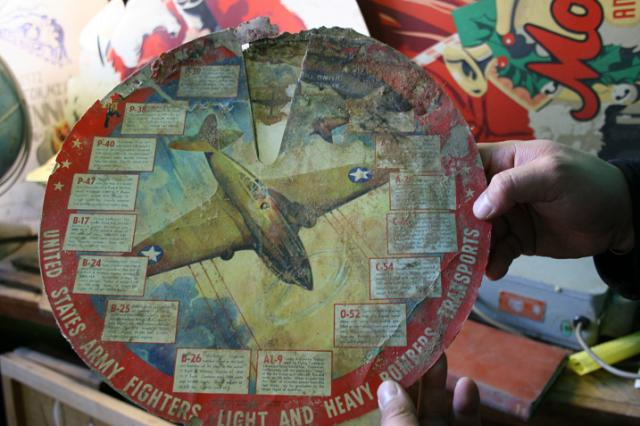 Another find, a vintage bomber transport chart damaged by water, like many of th