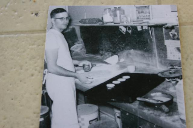 A vintage photo of bakery owner Bob Sanger who died in March at the age of 80.