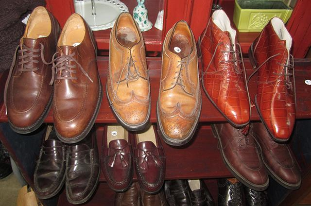 An assortment of Sid Hartman's shoes.