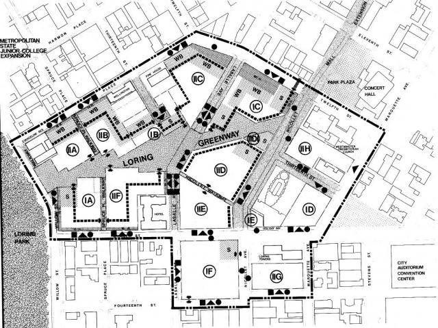 Mysterious symbols dot a site plan from the Loring Park Development Urban Design