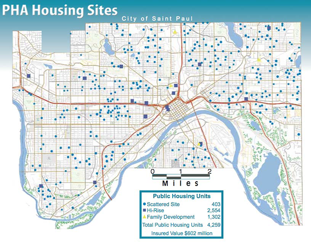 Map of public housing in St. Paul