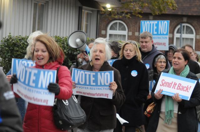 Vote No Voter ID protesters