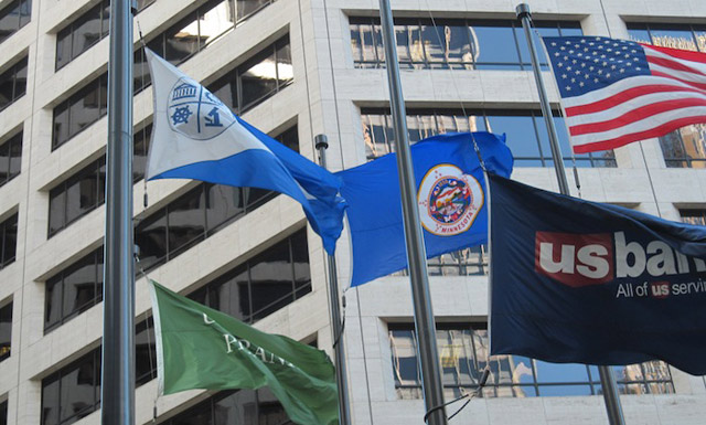 Flags of MN, USA, Mpls