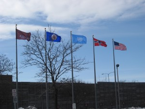 Augsburg College, Minneapolis MN, March 3, 2013.  UN flag is at center