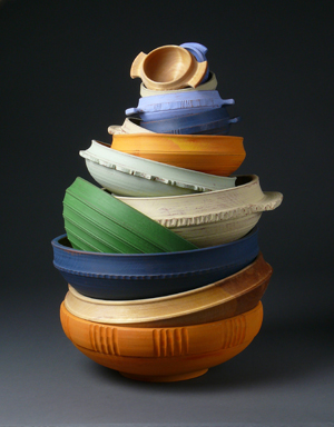 colorful carved bowls