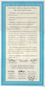 Minneapolis/Hennepin County MN Declaration of World Citizenship signed March 5, 1968, dedicated May 1, 1968