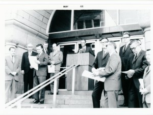 Lynn Elling at Minneapolis City Hall May 1, 1968 opening the event where Minneapolis and Hennepin County declard themselves World Citizenship Communities, and where the United Nations flag flew alongside the U.S. flag.