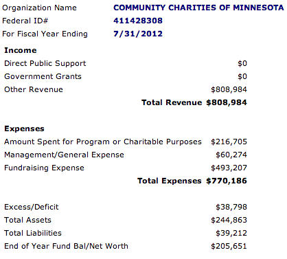 Community Charities of Minnesota Financial Report