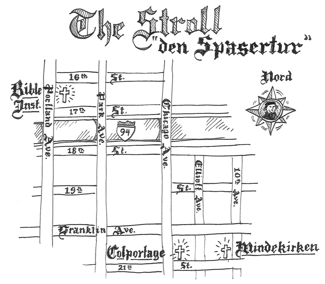 hand drawn map of Lutheran sites in S. Minneapolis