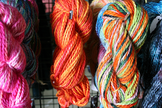 More stunning hand-dyed yarn, this from Whispering Oaks Alpacas.