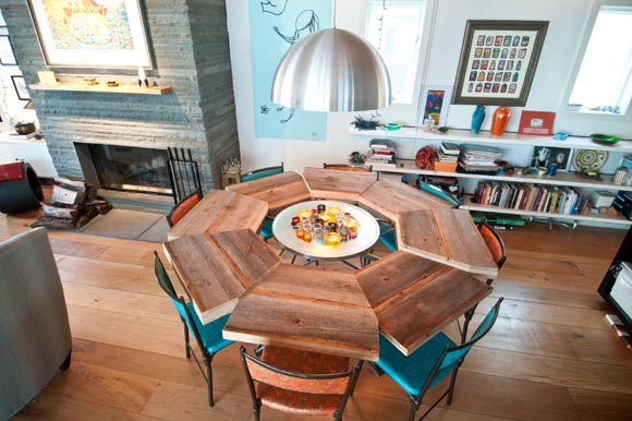 "Ben made the round dining-room table, with its ""placemats"" of raw wood stacked in varying heights."