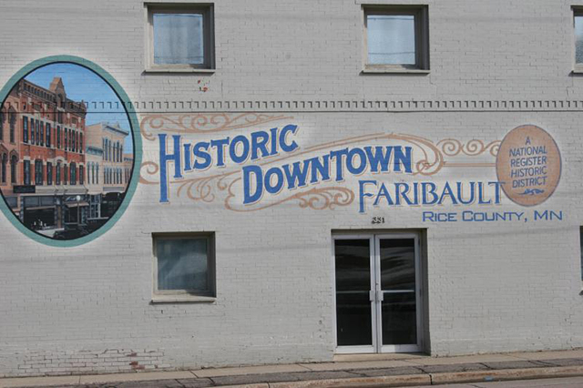 A mural, one of several in the downtown area, promotes historic Faribault.