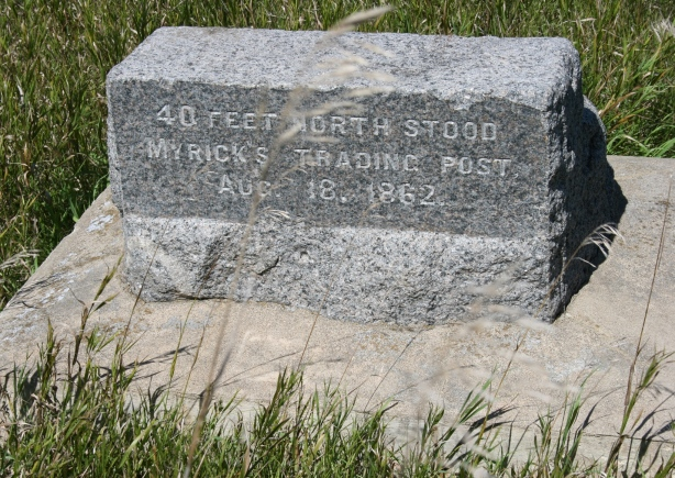 """Trader Andrew Myrick refused to grant the Dakota credit, remarking, """"Let them eat grass."""" After an attack on the Lower Agency, Myrick was found dead, his mouth stuffed with grass."""