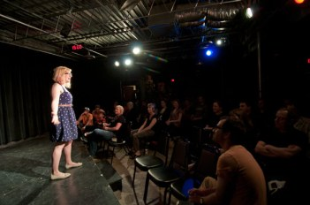 Emcee Hannah Wydevan gets a Wednesday night show rolling.