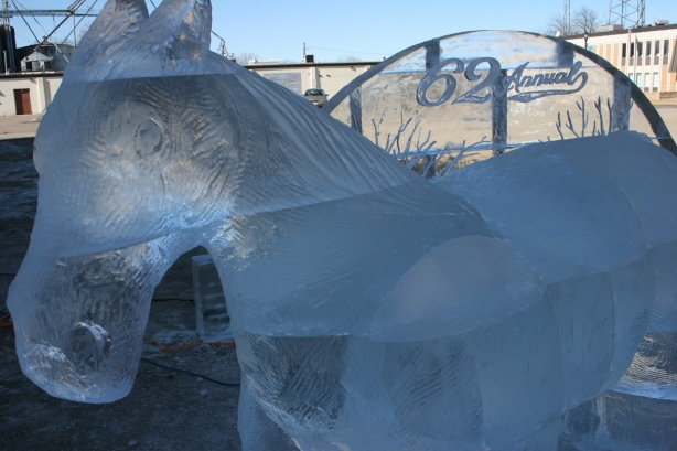 This close-up image shows the blocks of ice that comprise the horse.
