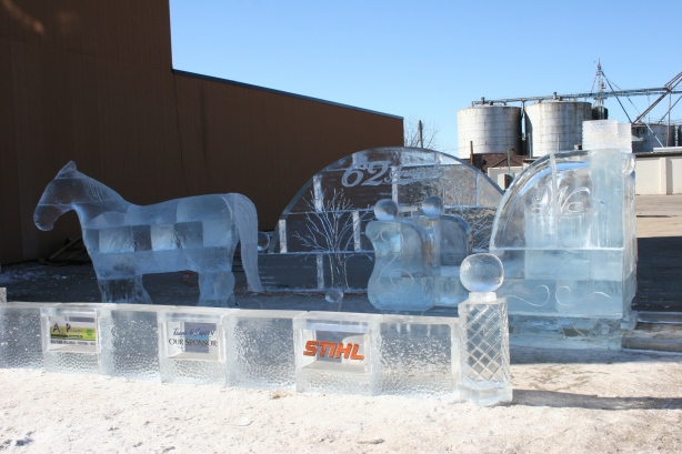 Horse and sleigh ice sculpture in Waseca, a rural southern Minnesota community.